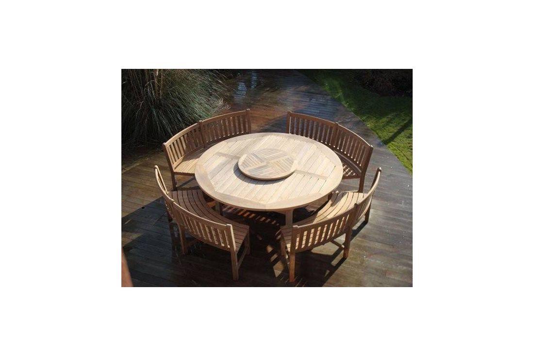 Chunky 210cm dia teak table with contour benches & parasol