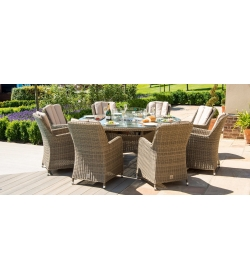 Oxford 8 Seater Round Venice Fire Pit Dining