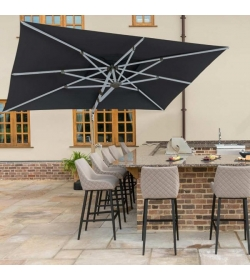Cantilever Parasol 3m x 4m Rectangular Rotating With LED Lights
