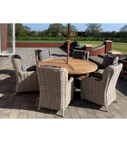 Fiji 6 Chair Chunky Dining Set