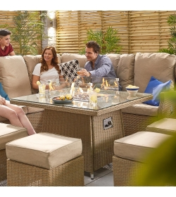 Skylar Reclining Corner Dining Set with FirePit