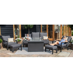 Manhattan Reclining 3 Seat Sofa Set with Fire Pit Table & Footstools