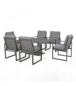 Amalfi 6 Seat Rectangular Dining Set - With Rising Table