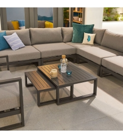 Alessandria Aluminium Corner Sofa Set with Armchair