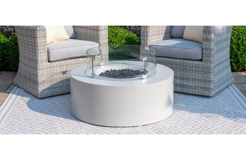 Gas Fire Pit Round Coffee Table, Outdoor Furniture With Gas Fire Pit Table