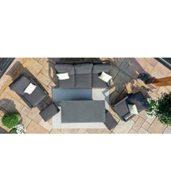 Manhattan Reclining 3 Seat Sofa Set with Rising Table & Footstools