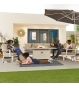 Vogue Dining Corner Sofa Set with Firepit Table & Armchair
