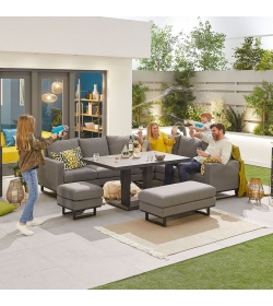 Eclipse Outdoor Fabric Casual Dining Set with Stools and Rising Table