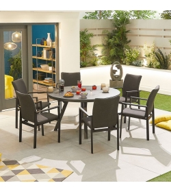Hugo Outdoor Fabric 6 Seat Round Dining Set