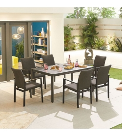 Hugo Outdoor Fabric 6 Seat Rectangular Dining Set