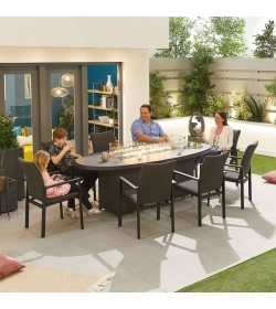 Hugo Outdoor Fabric 8 Seat Oval Dining Set with Firepit Table