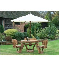 Round Picnic Table With Backrests 8 Seater | FSC® Certified
