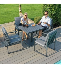 Amalfi 4 Seat Square Dining Set - With Rising Table
