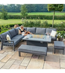 New York Corner Dining Set - With Firepit Table