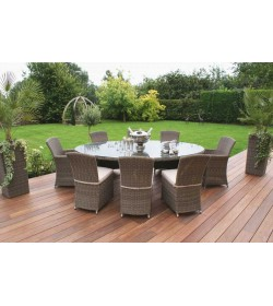Winchester Oval Table set 2 Cava and 6 Armless Chairs