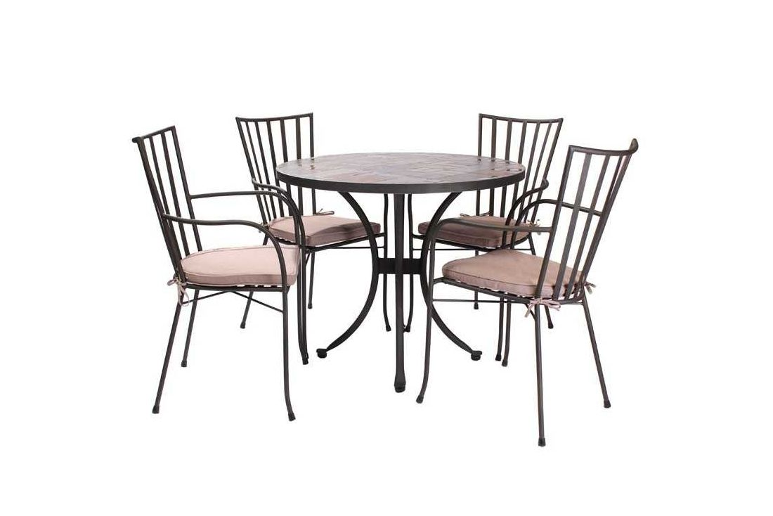 Slate Top Round 4 Chair Dining Set
