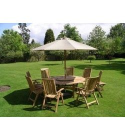 Chunky 150cm table, 6 recliners, cushions & parasol