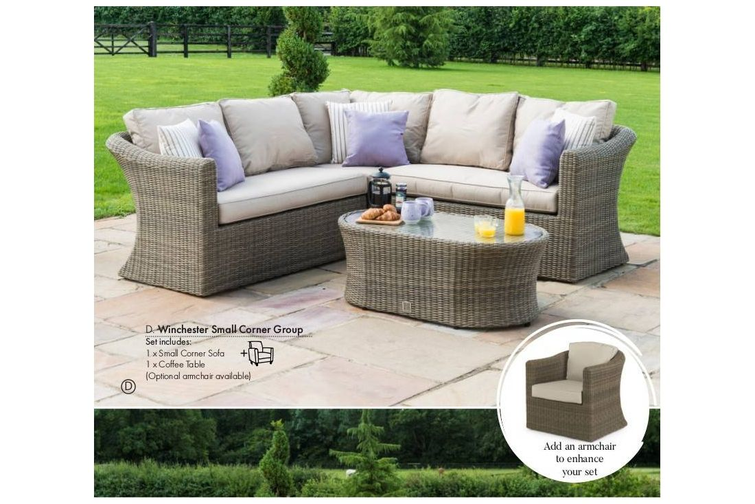 Winchester rattan garden furniture small corner sofa set chair