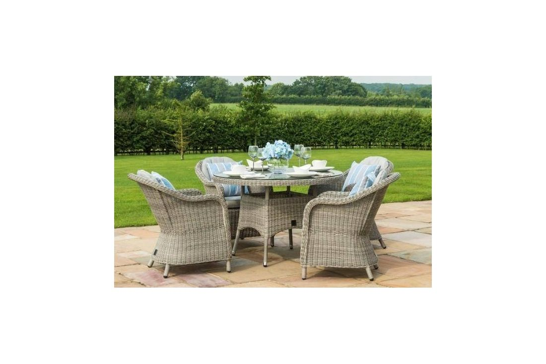 OXFORD 4 SEAT ROUND DINING SET WITH ROUNDED CHAIRS