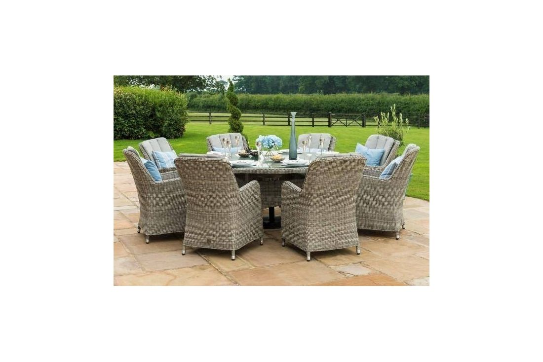 OXFORD 8 SEAT ROUND DINING SET WITH VENICE CHAIRS