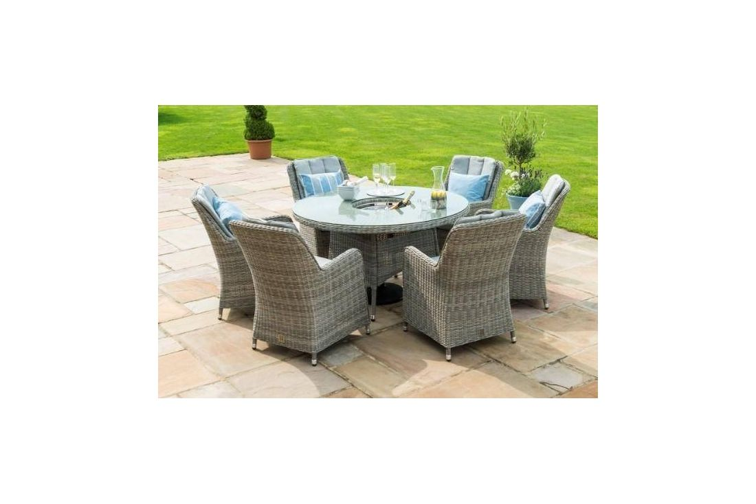 Oxford 6 Seat Round Ice Bucket Dining Set with Venice Chairs