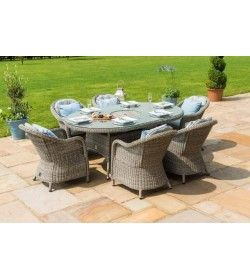 Oxford 6 Seat Ice Bucket Oval Dining set with Rounded Chairs