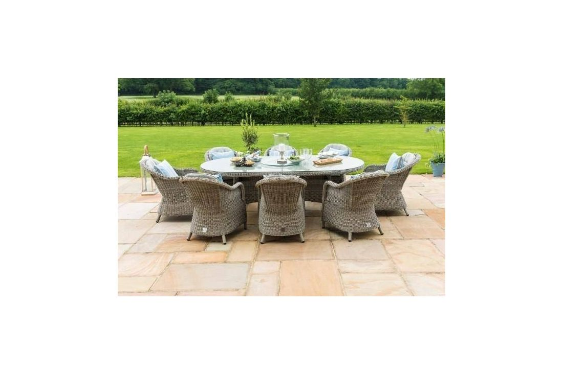 Oxford 8 Seat Ice Bucket Oval Dining set with Rounded Chairs