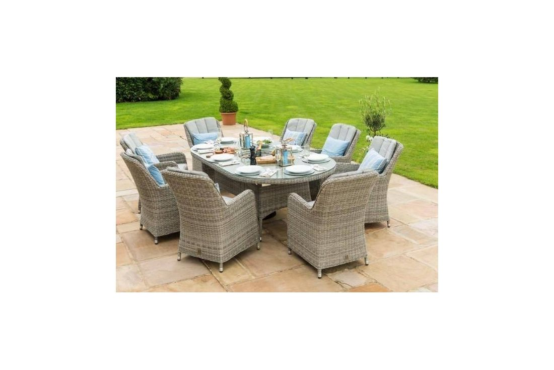 Oxford 8 Seat Ice Bucket Oval Dining set with Venice Chairs